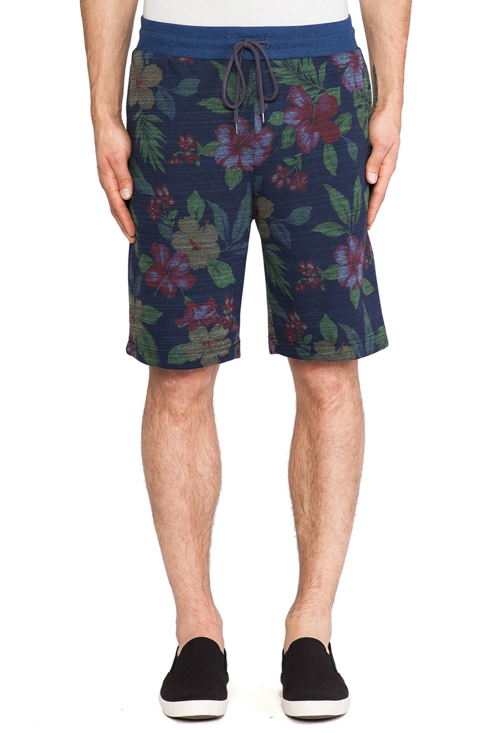 Shades of Grey by Micah Cohen Sweatshort in Navy Floral