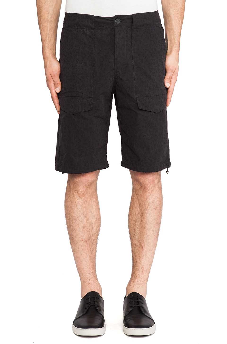 Shades of Grey by Micah Cohen Drawcord Field Short in Black Cheetah