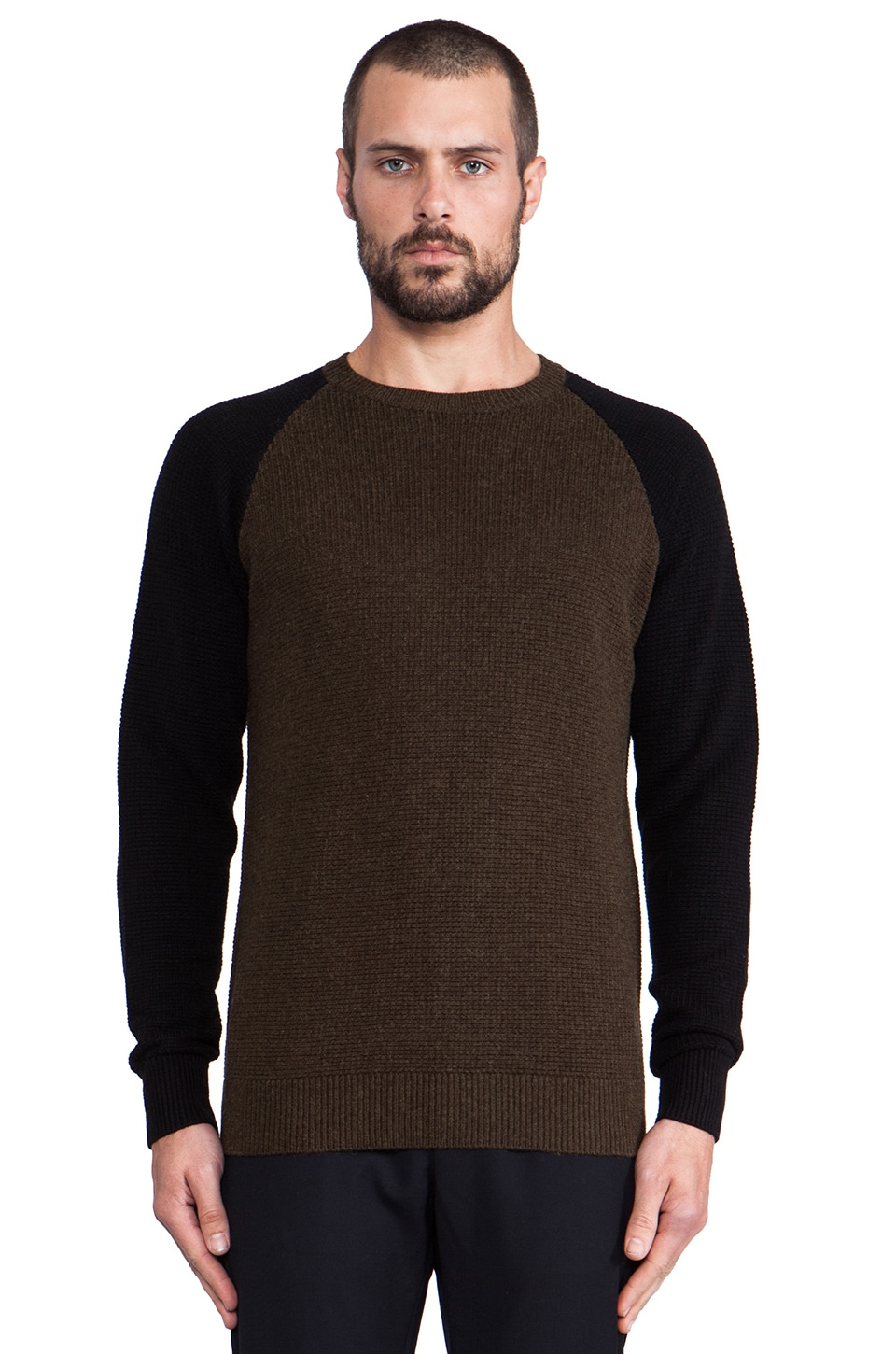 Shades of Grey by Micah Cohen Colorblock Waffle Knit Crewneck in Fatigue Green/Black
