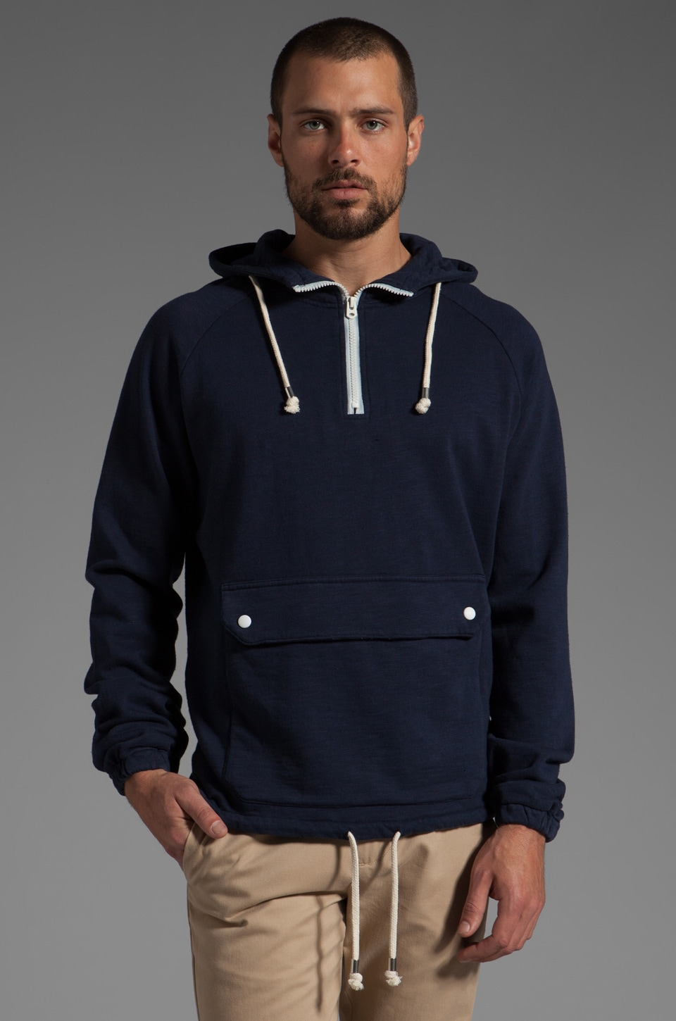 Shades of Grey by Micah Cohen Fleece Anorak in Navy