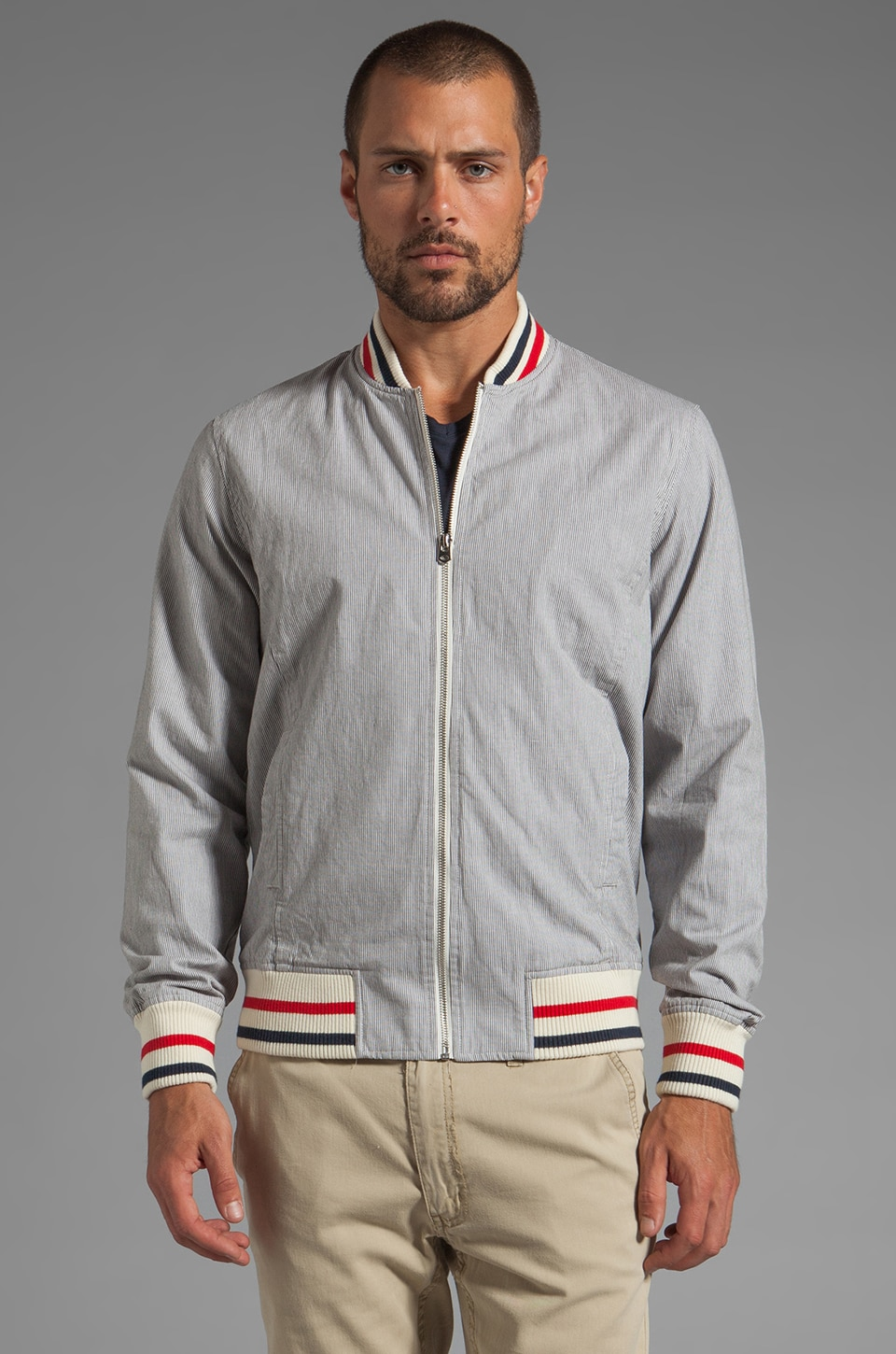 Shades of Grey by Micah Cohen Varsity Jacket in Grey Stripe Corded Cotton