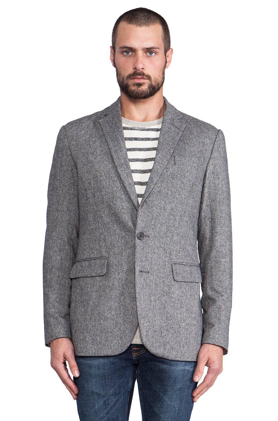 Shades of Grey by Micah Cohen 2 Button Blazer in Grey Tweed