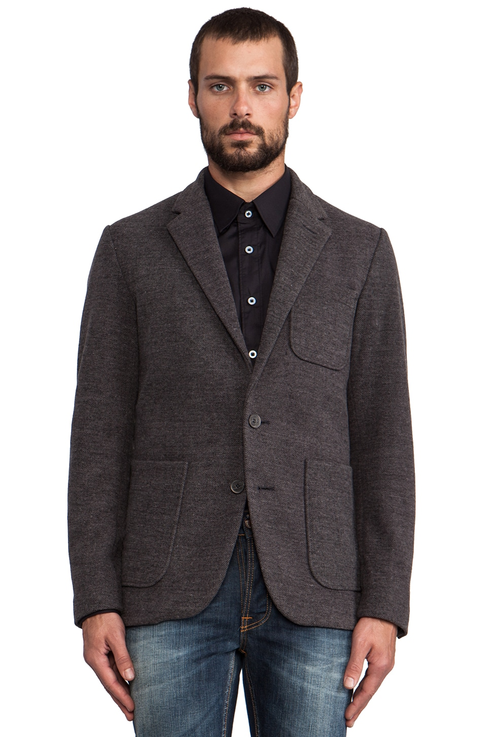 Shades of Grey by Micah Cohen 2 Button Knit Blazer in Charcoal Pique