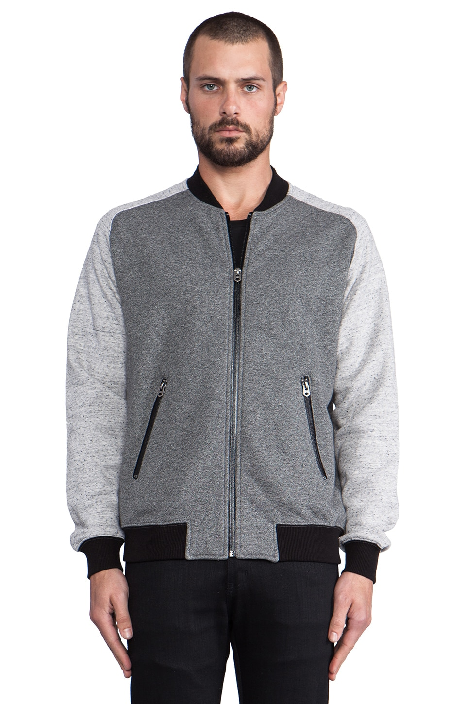 Shades of Grey by Micah Cohen Knit Bomber Jacket in Heather Graphite/Speckled Grey