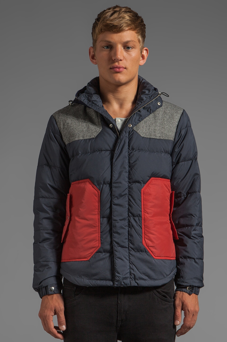 Shades of Grey by Micah Cohen Colorblock Down Jacket in Navy