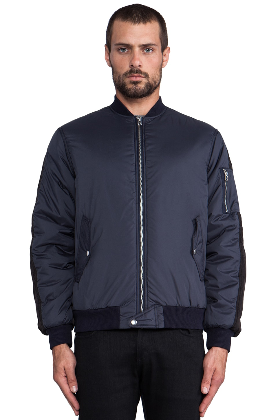 Shades of Grey by Micah Cohen Contrast MA-1 Jacket in Navy/Black