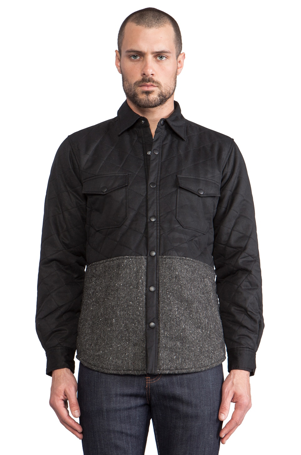 Shades of Grey by Micah Cohen Quilted Shirt Jacket in Black/Dark Grey Tweed