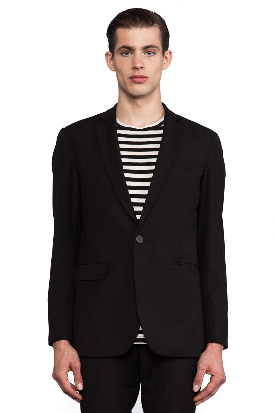 Shades of Grey by Micah Cohen 2 Button Blazer in Black Wool