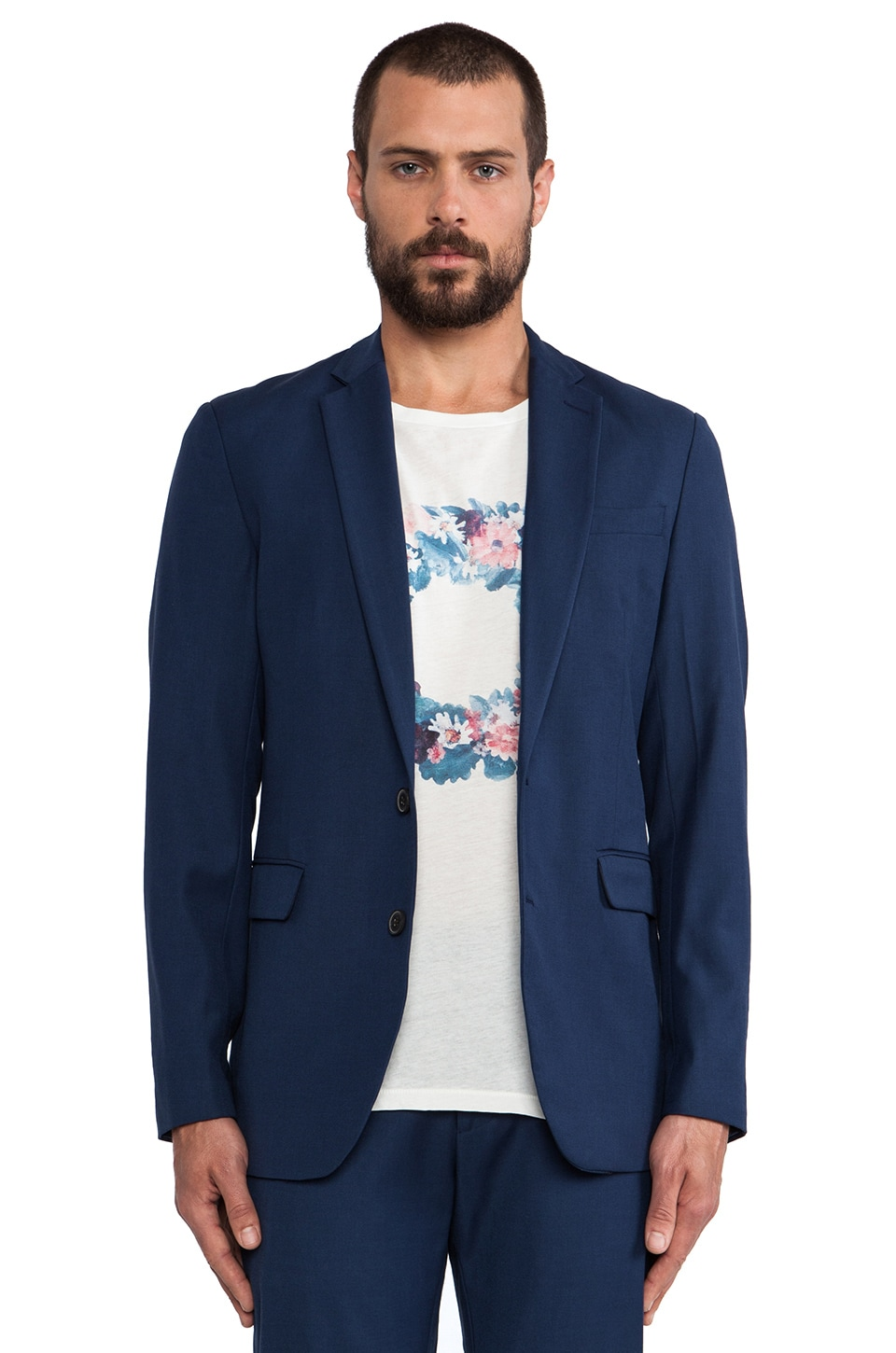 Shades of Grey by Micah Cohen 2 Button Blazer in Classic Blue Wool