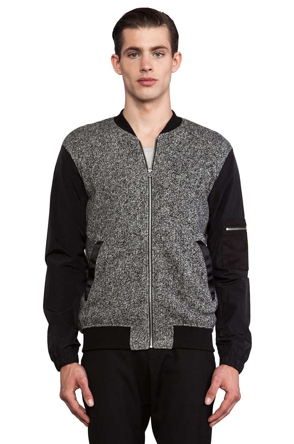 Shades of Grey by Micah Cohen Baseball Jacket in Blackboard & Black