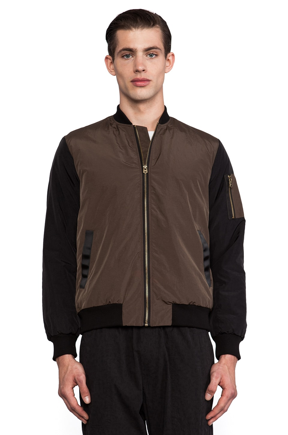 Shades of Grey by Micah Cohen Filled Bomber in Olive & Black