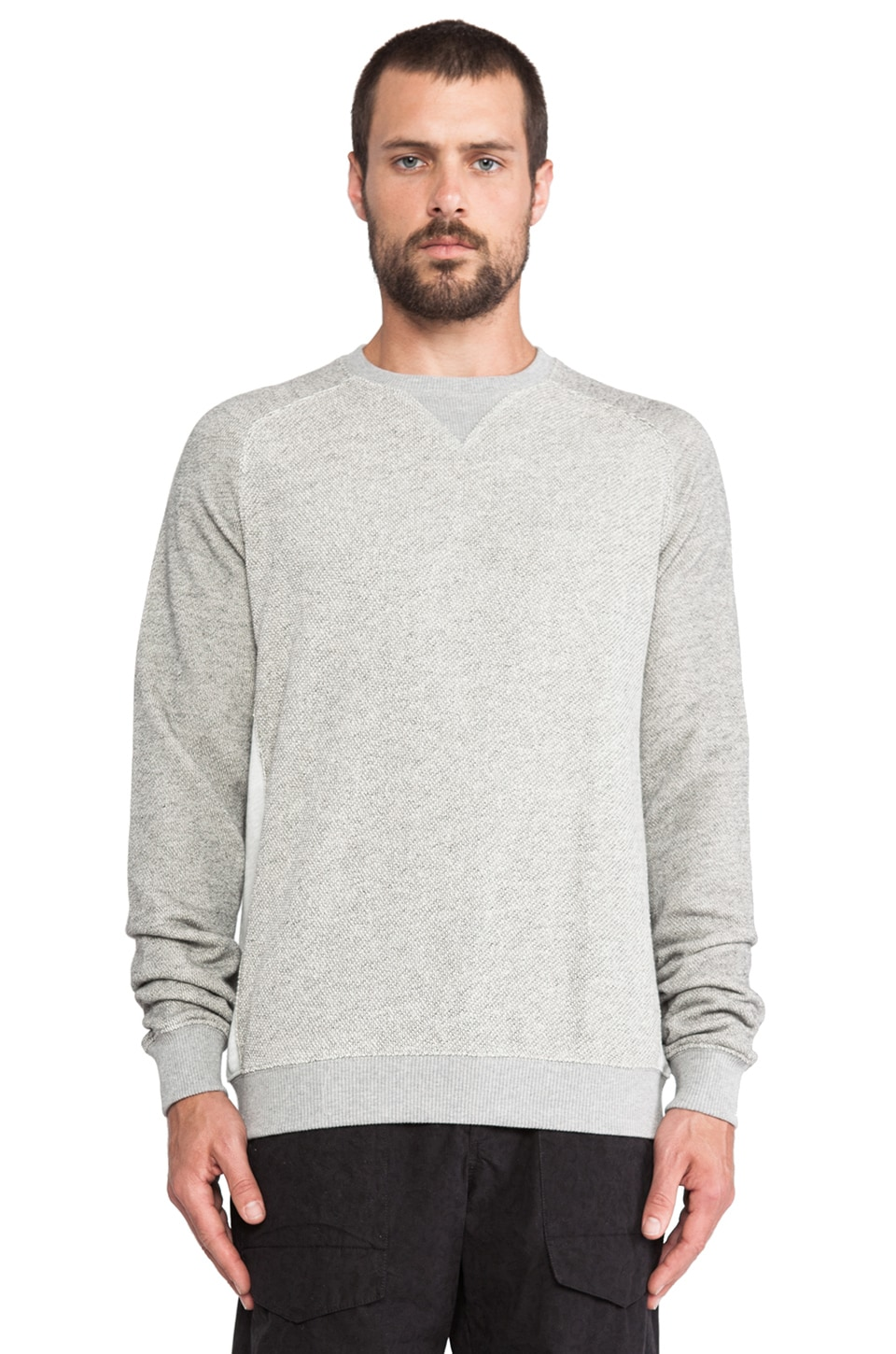 Shades of Grey by Micah Cohen Contrast Panel Sweatshirt in Light Heather Grey
