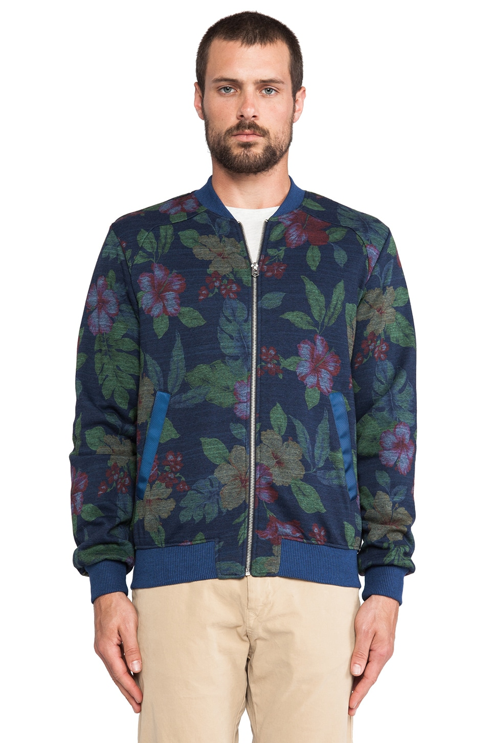 Shades of Grey by Micah Cohen Bomber in Navy Floral