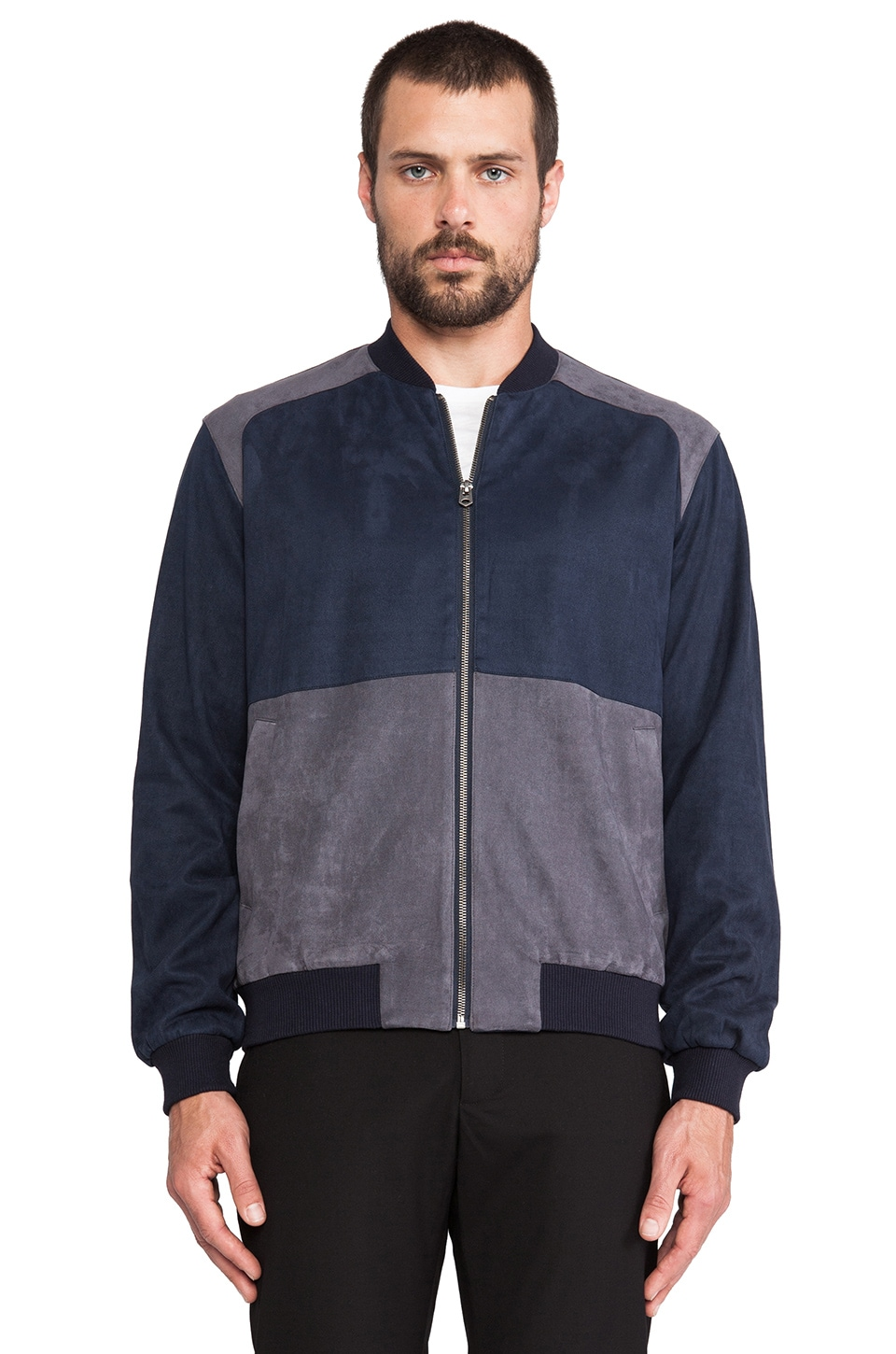 Shades of Grey by Micah Cohen Colorblock Faux Suede Bomber in Navy/ Grey