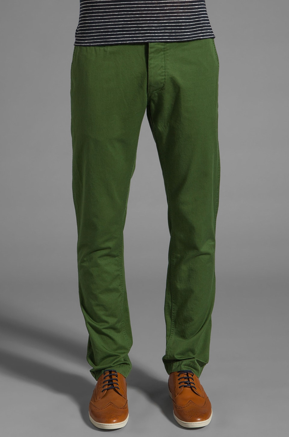 Shades of Grey by Micah Cohen Slim Fit Chino en Grass Green Twill