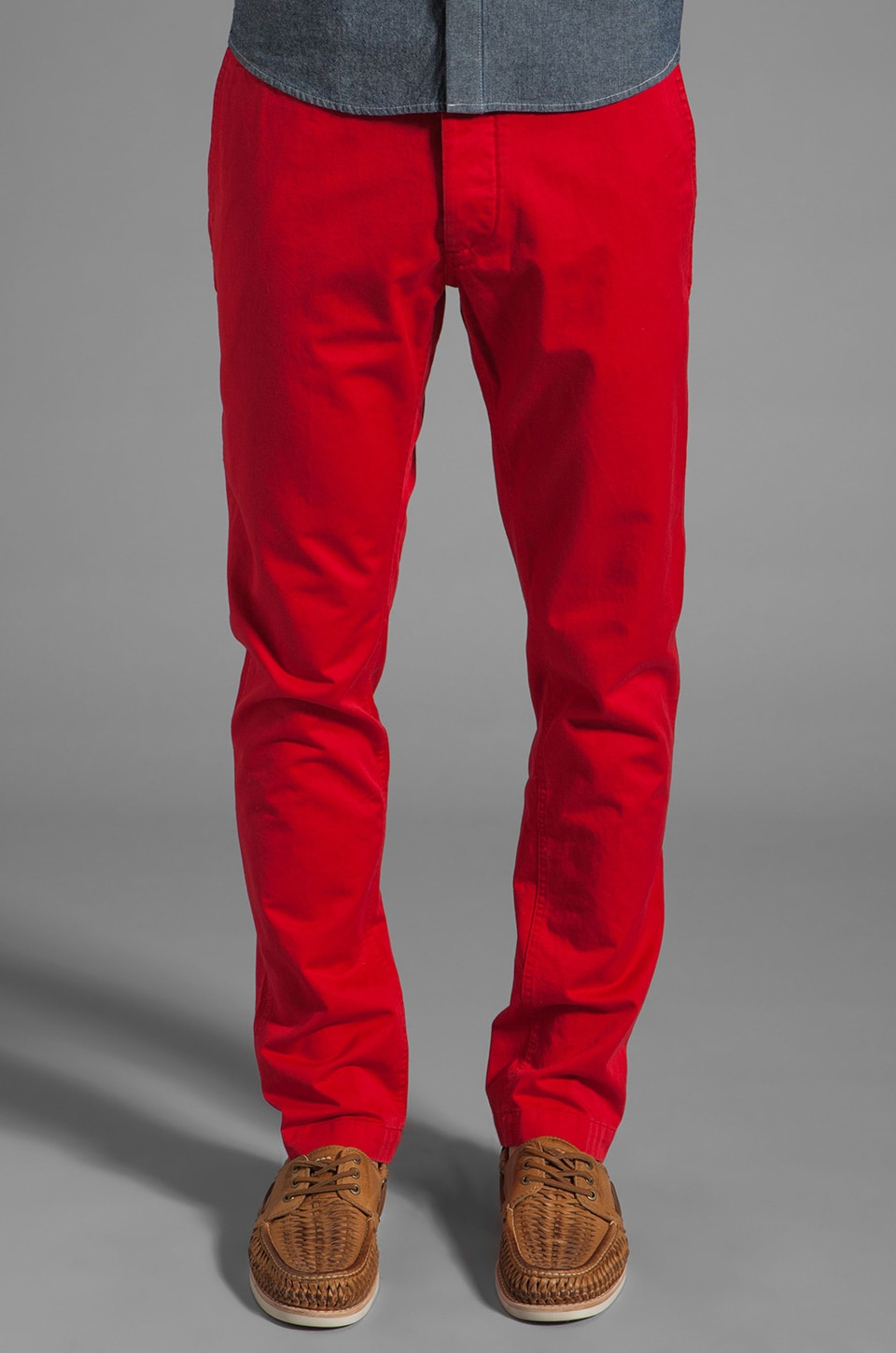 Shades of Grey by Micah Cohen Slim Fit Chino in Red Twill