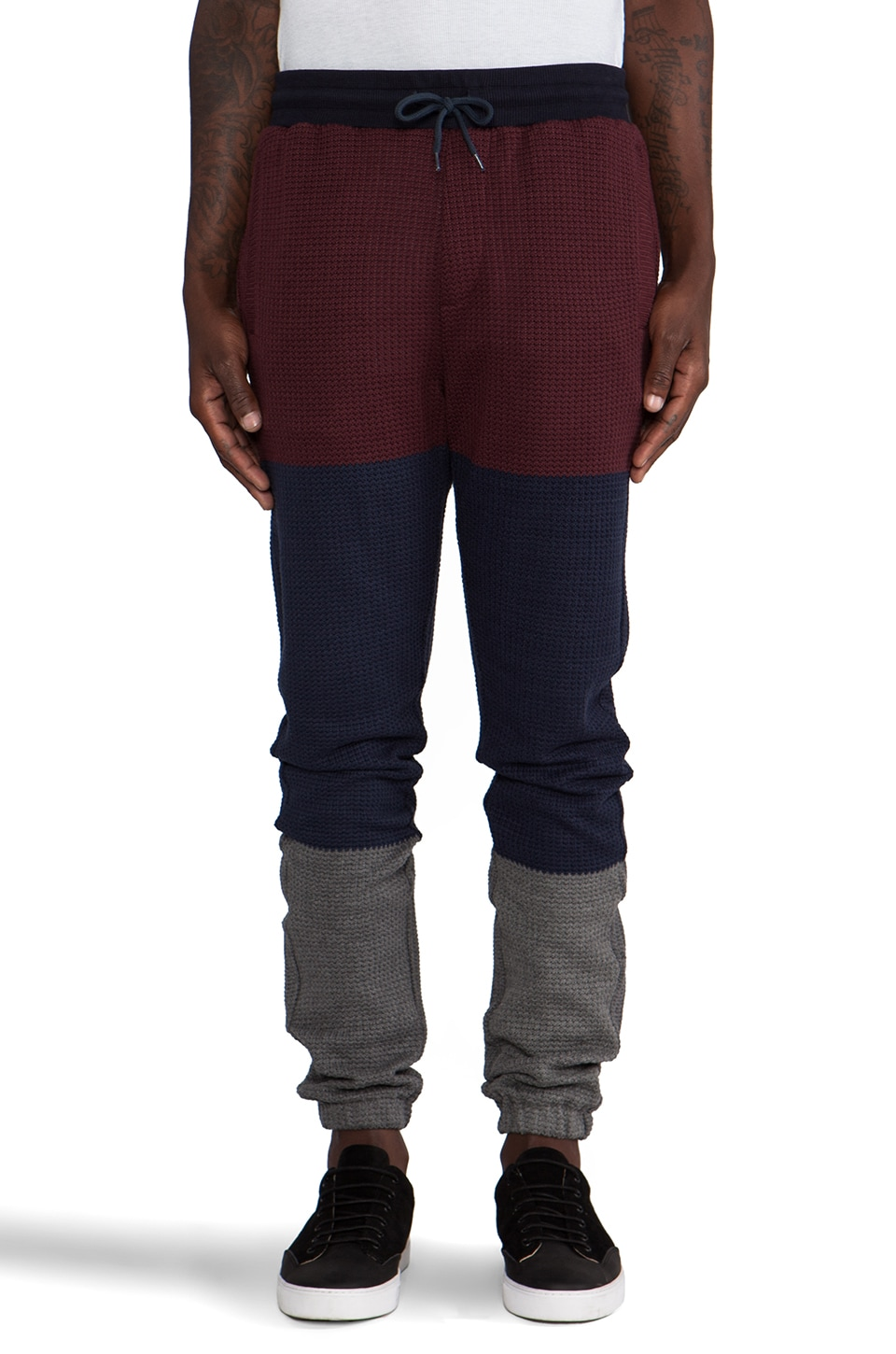 Shades of Grey by Micah Cohen Waffle Knit Lounge Pant in Burgundy/Navy/Charcoal