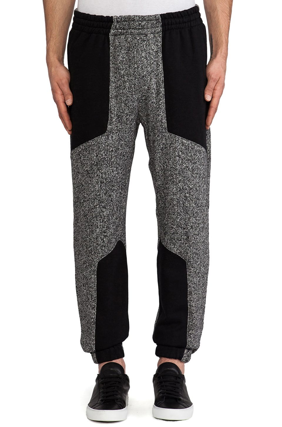 Shades of Grey by Micah Cohen Paneled Lounge Pant in Blackboard & Black