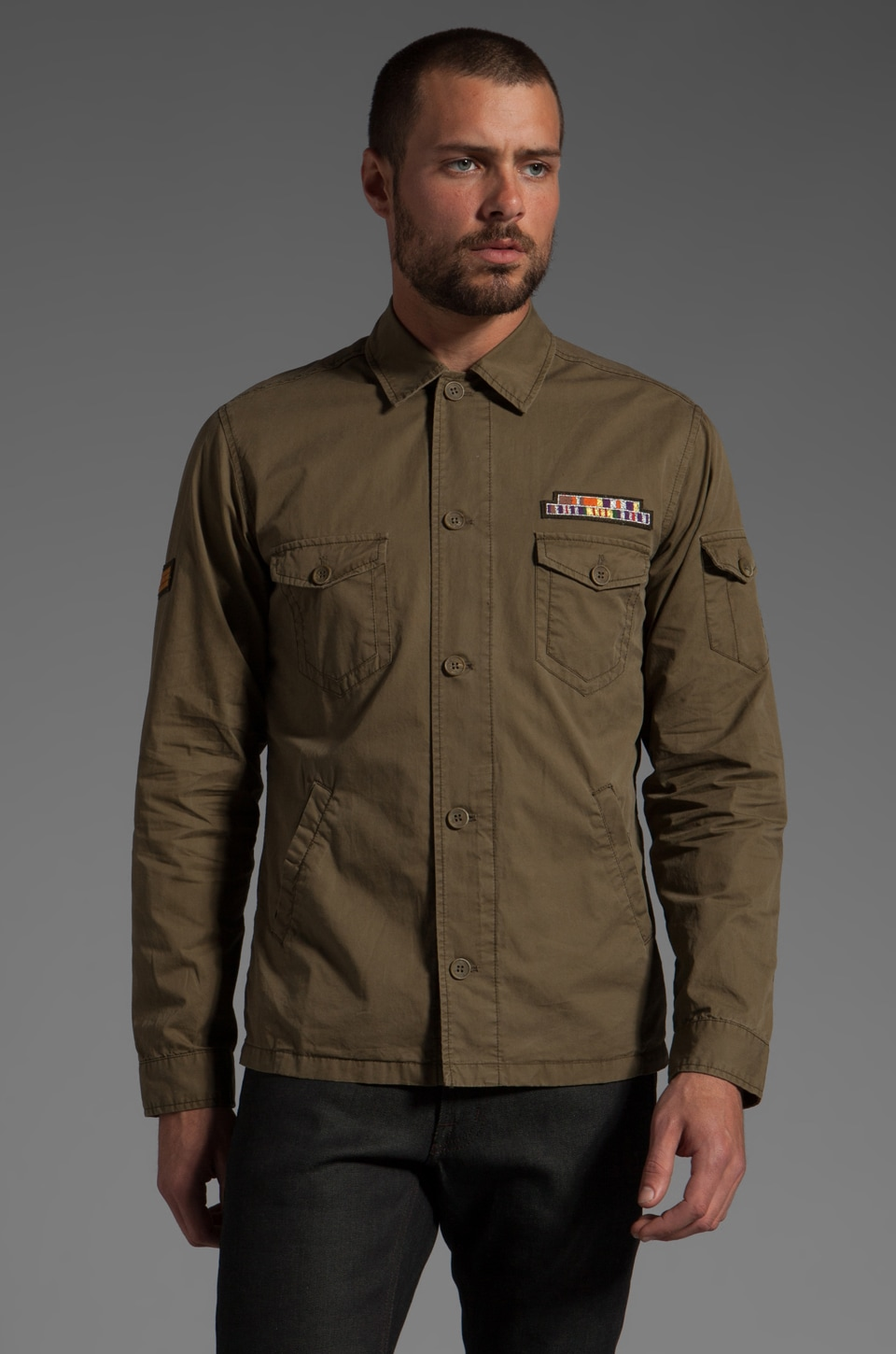 Shades of Grey by Micah Cohen Military Overshirt in Olive Poplin