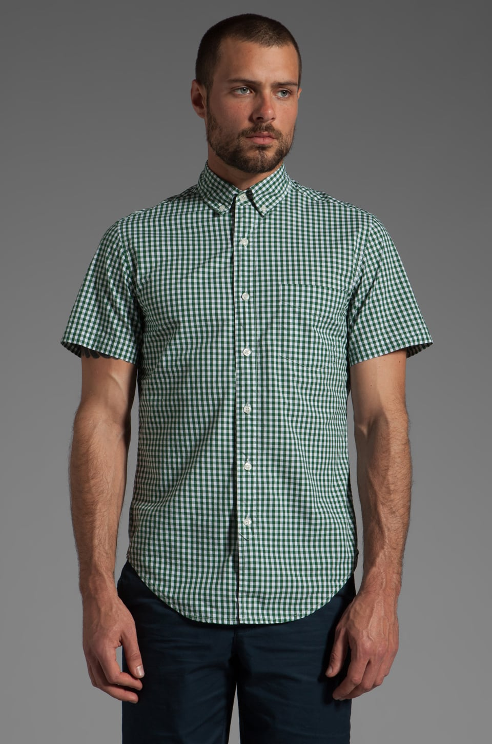 Shades of Grey by Micah Cohen S/S Button Down Shirt in Green Gingham