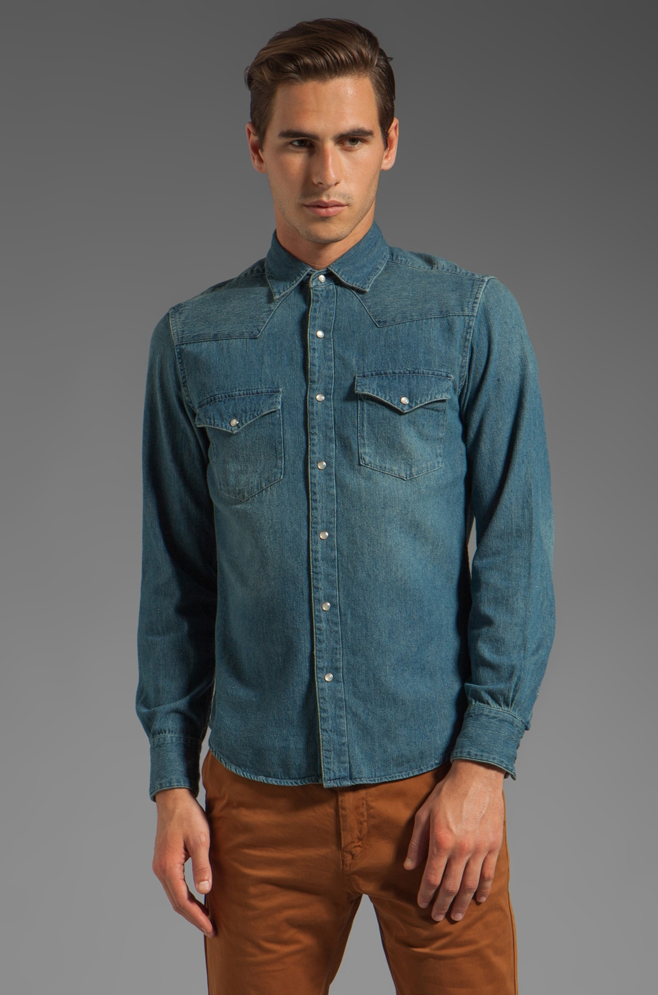 Shades of Grey by Micah Cohen Western Denim Shirt in Vintage Denim