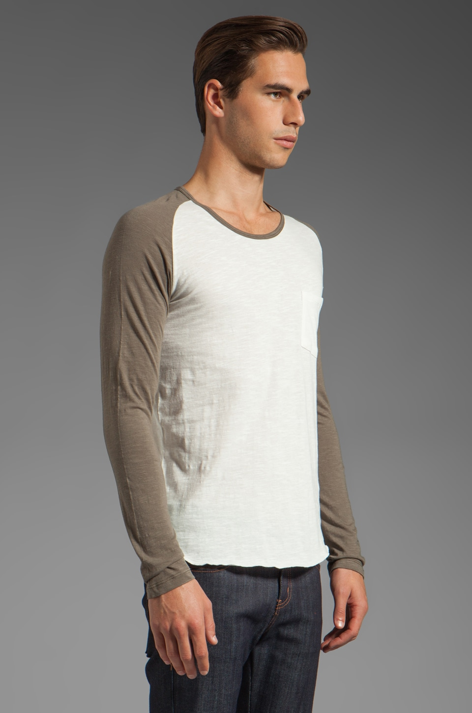 Shades of Grey by Micah Cohen Long Sleeve Baseball Tee in Natural Slub
