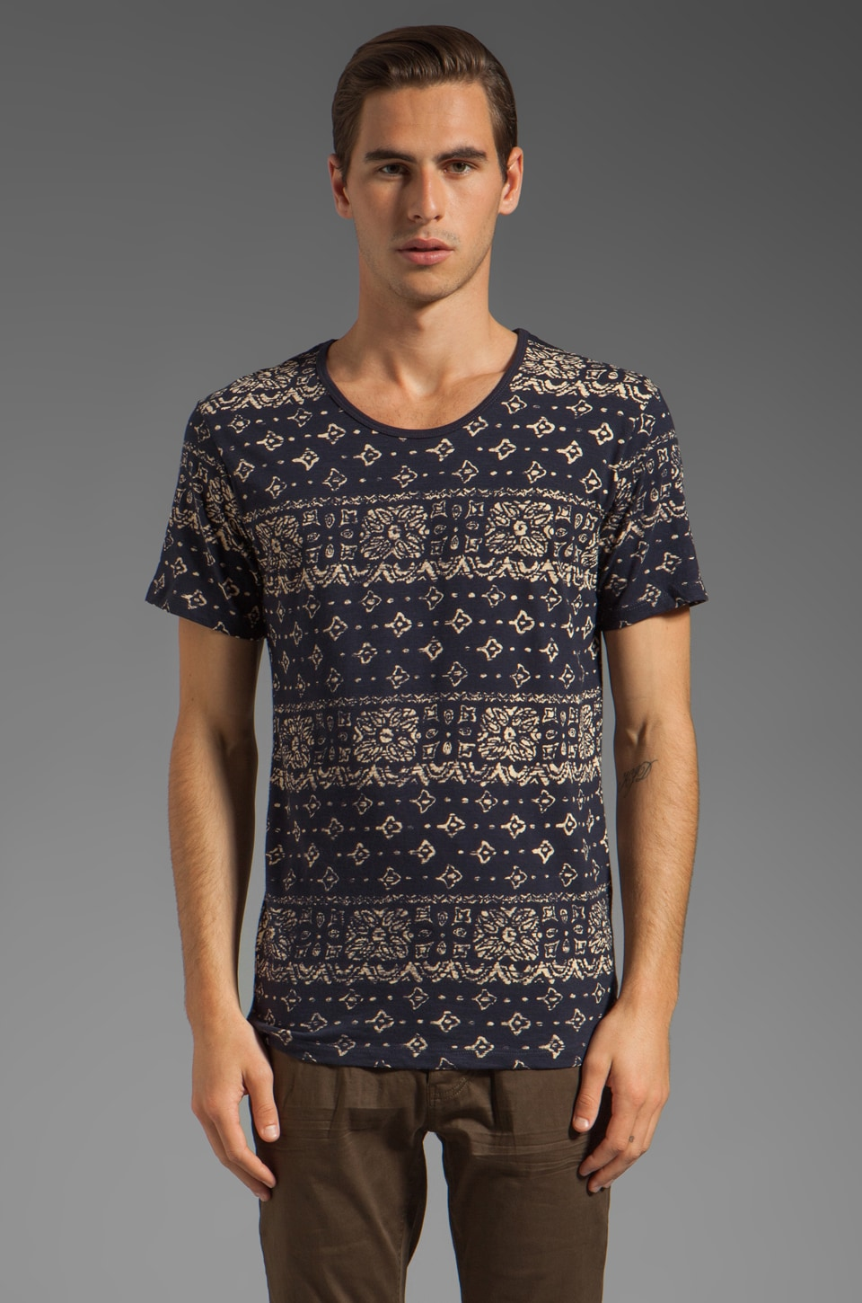 Shades of Grey by Micah Cohen Low Crewneck Tee in Navy Slub w/ Bandana Print