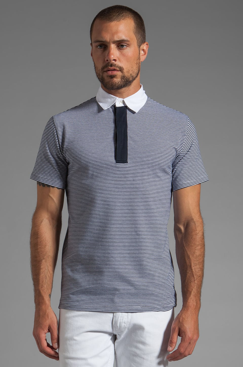 Shades of Grey by Micah Cohen S/S Polo Shirt in Thin Navy Stripe