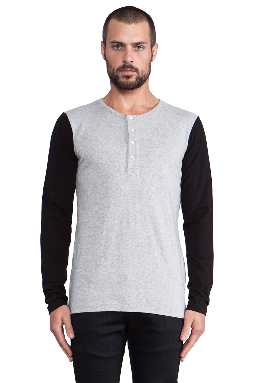 Shades of Grey by Micah Cohen L/S Henley in Heather Grey/Black