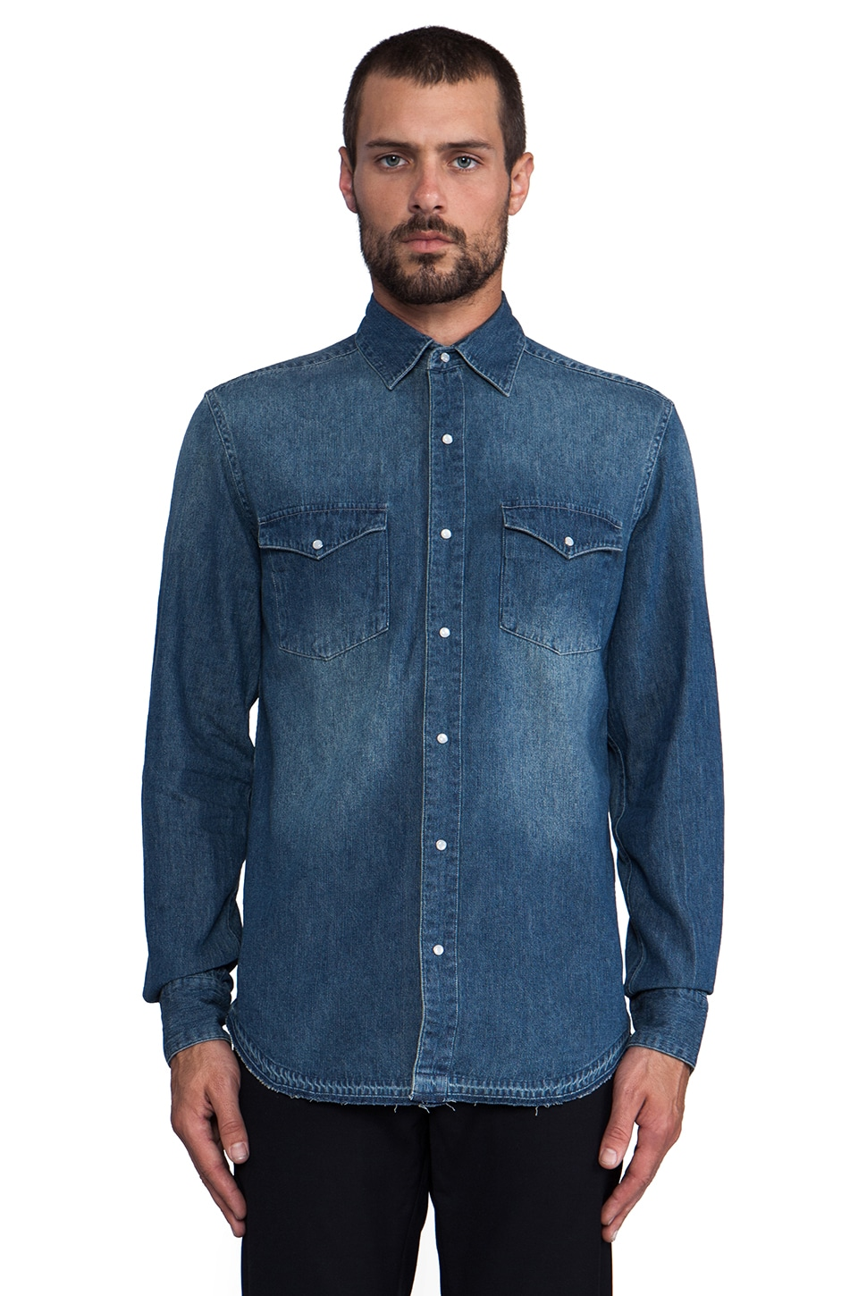 Shades of Grey by Micah Cohen Frayed Bottom Denim Shirt in Vintage Blue
