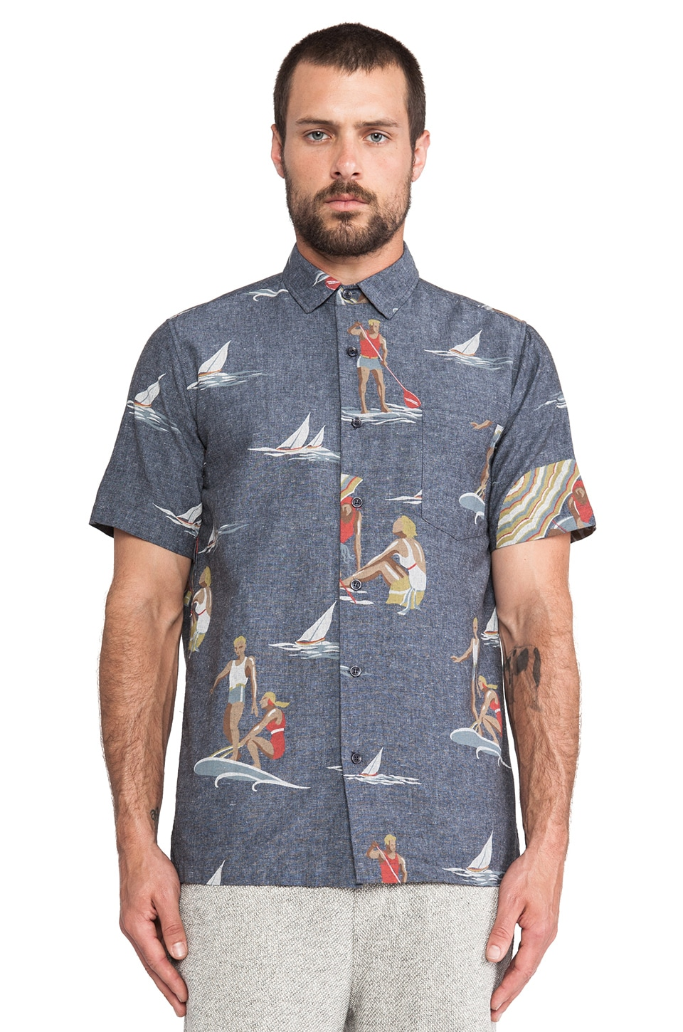 Shades of Grey by Micah Cohen Vacation Shirt in Sea Sports