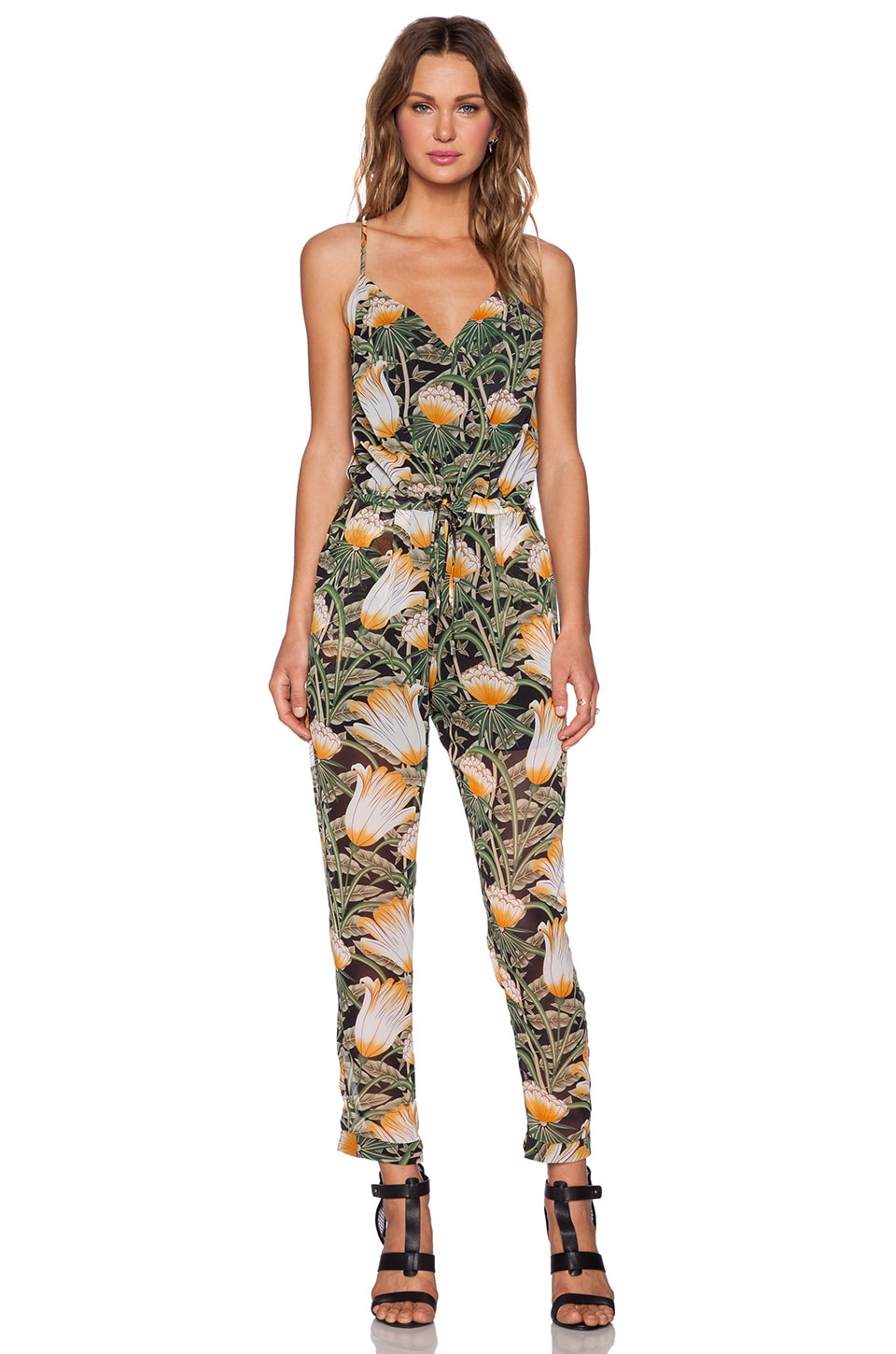 a622ef58f96 Shades of Grey by Micah Cohen Spaghetti Strap Jumpsuit in Jungle Flower