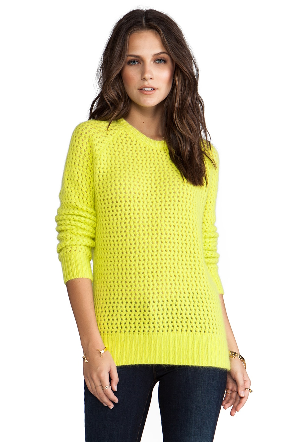 SHAE Long Sleeve Open Stitch Fuzzy Sweater in Pomme