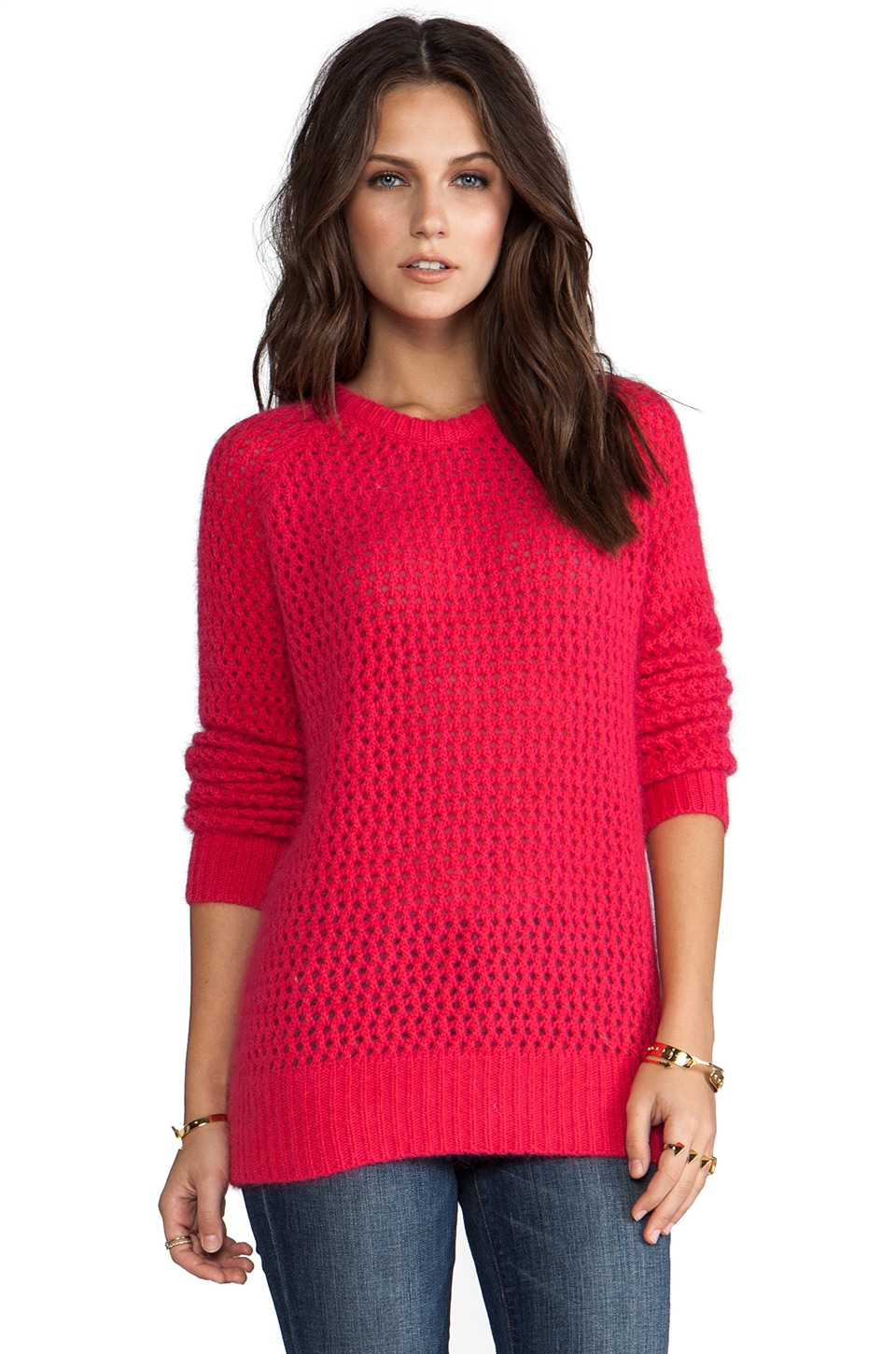 SHAE Long Sleeve Open Stitch Fuzzy Sweater in Rhubarb