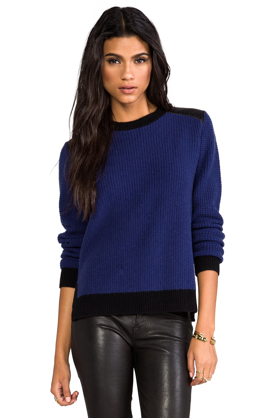 SHAE Waffle Stitch Pullover with Leather Detail in Midnight Combo