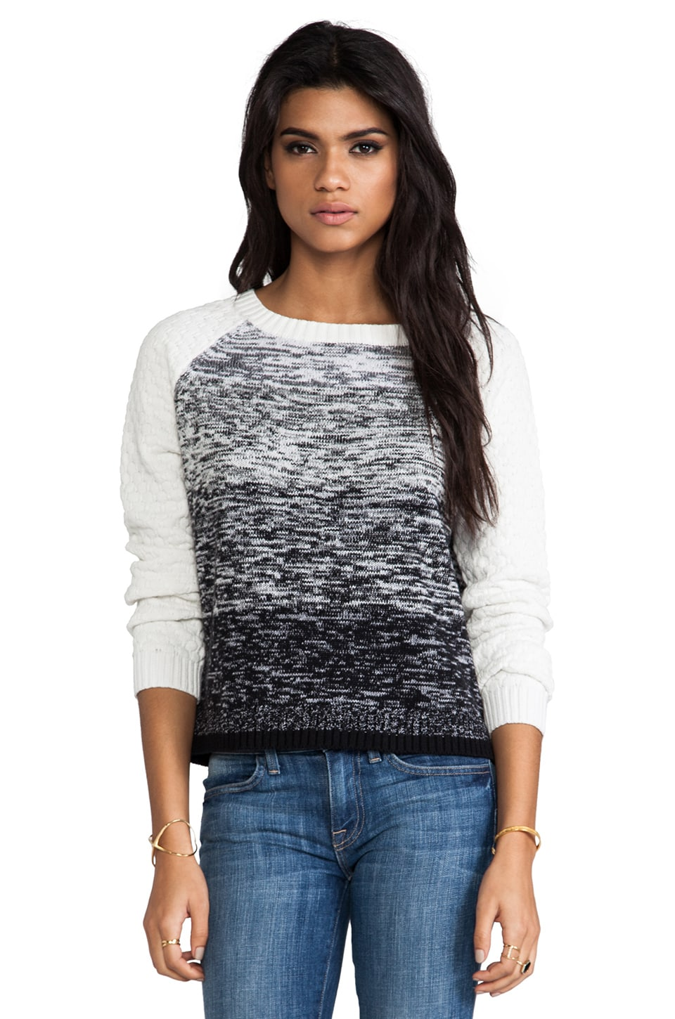 SHAE Ombre Marl Pullover in Salt