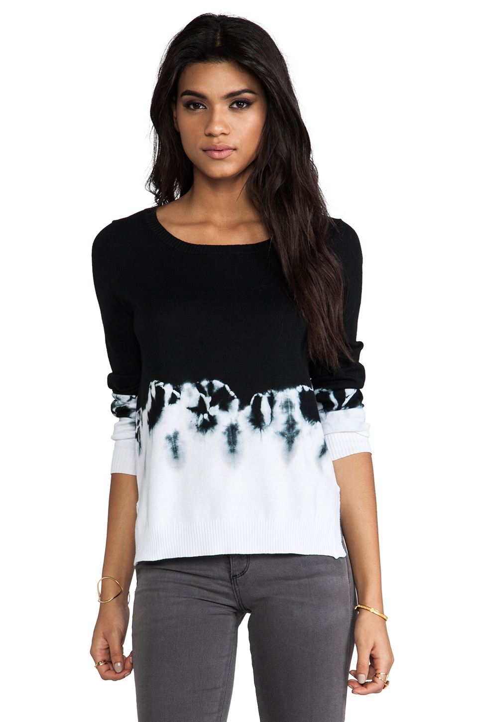 SHAE Dip Dye Pullover in Black & White