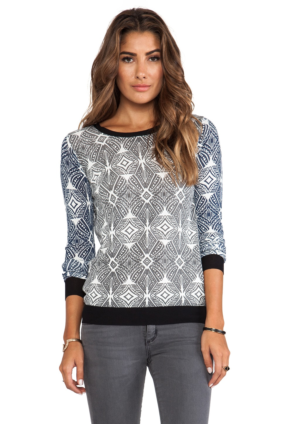 SHAE Printed Pullover in Ikat Print