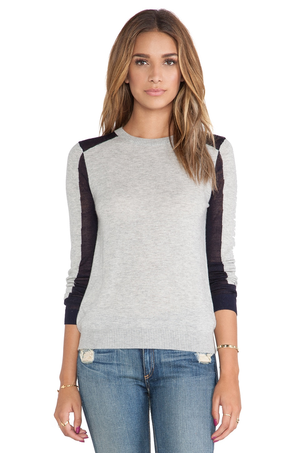 SHAE Blocked Pullover in Heather Grey Combo