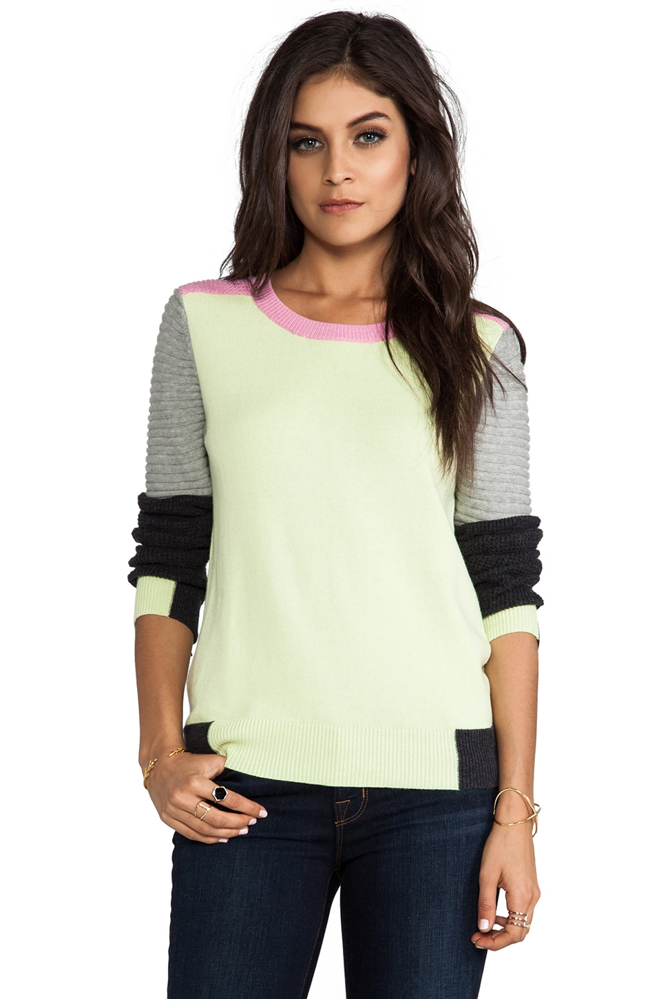 SHAE Moto Sweater in Lemon/Lime Combo