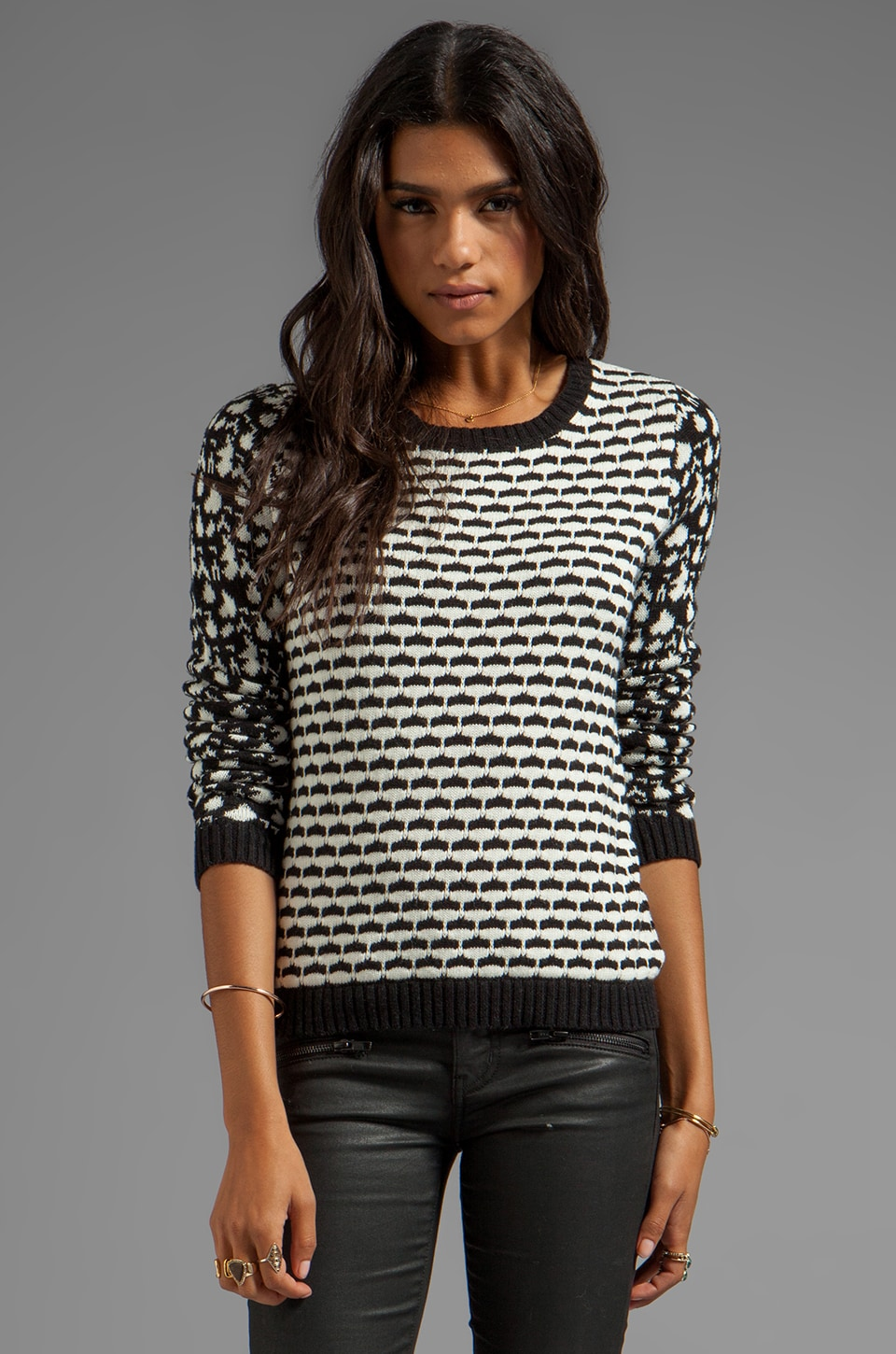 SHAE Mixed Jacquard Pullover in Black Combo