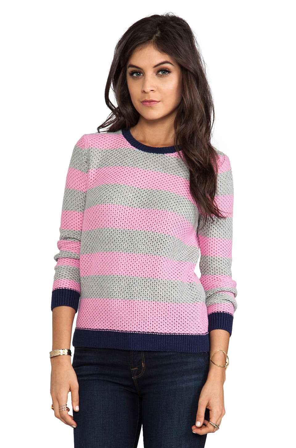 SHAE Moss Stitch Pullover in Pink/Heather Gray Stripe