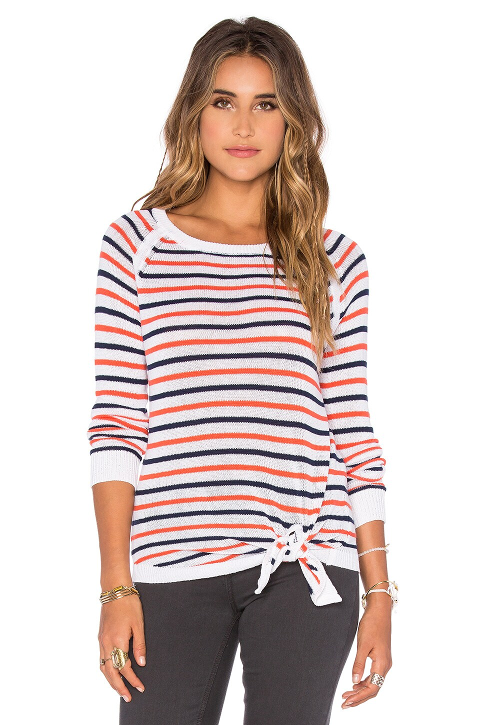Tie Front Stripe Pullover Sweater