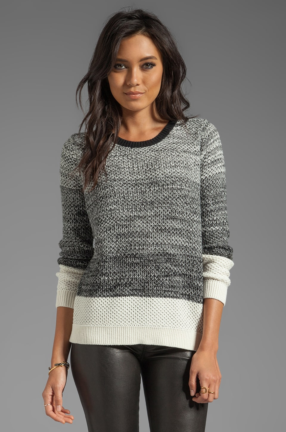 SHAE Moss Stitch Pullover in Black Marl