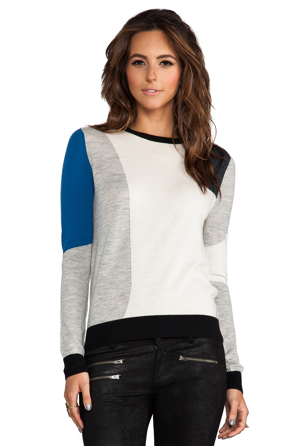 SHAE Colorblock Jacquard Pullover in Warm White Combo