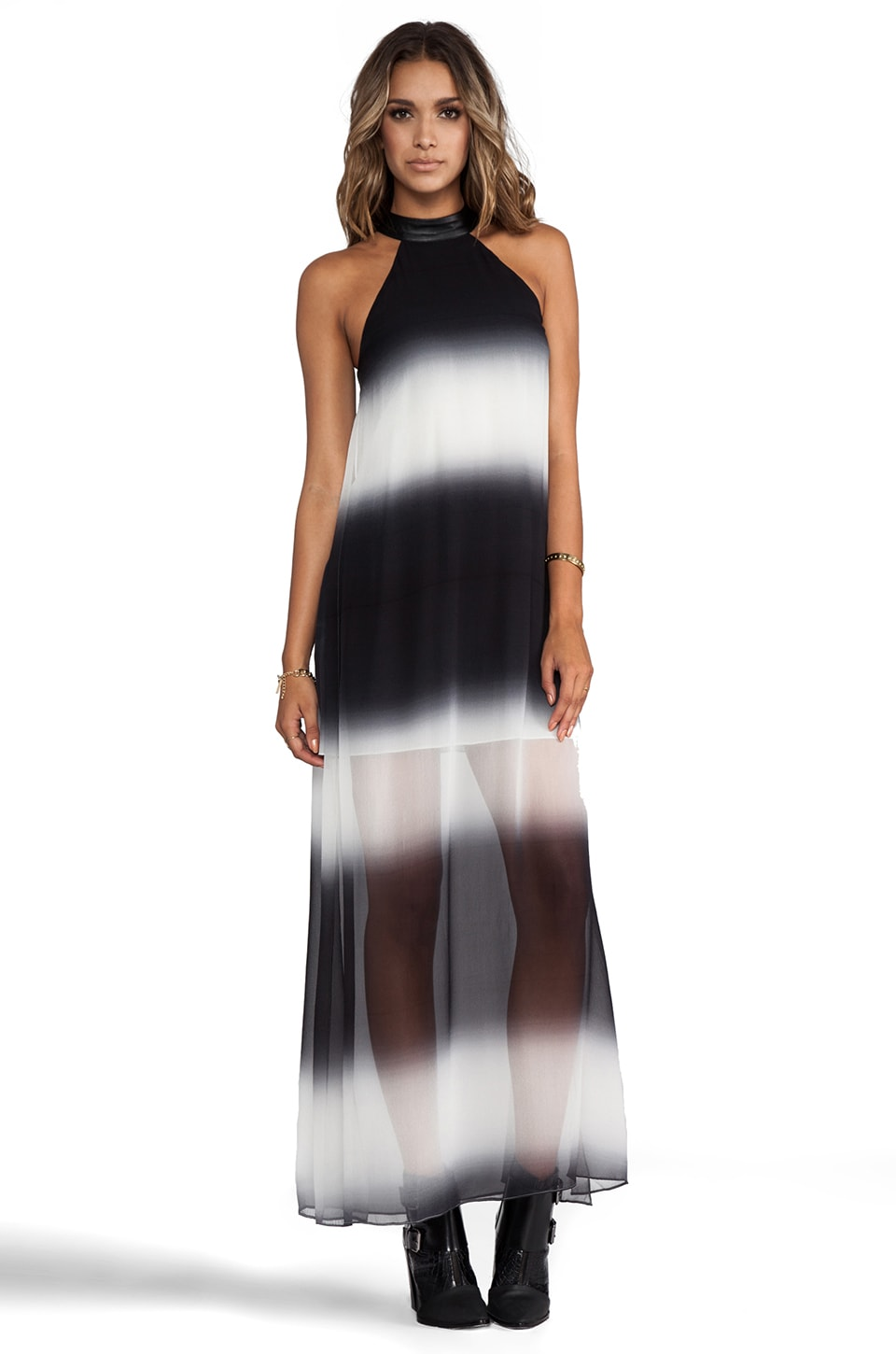 Shakuhachi Halter Maxi Dress in Black/White Ombre
