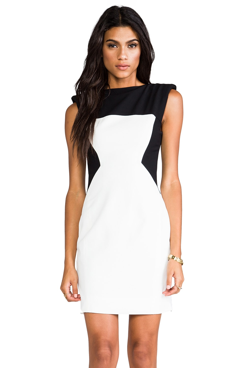 Shakuhachi Utility Control Fitted Dress in White/Black