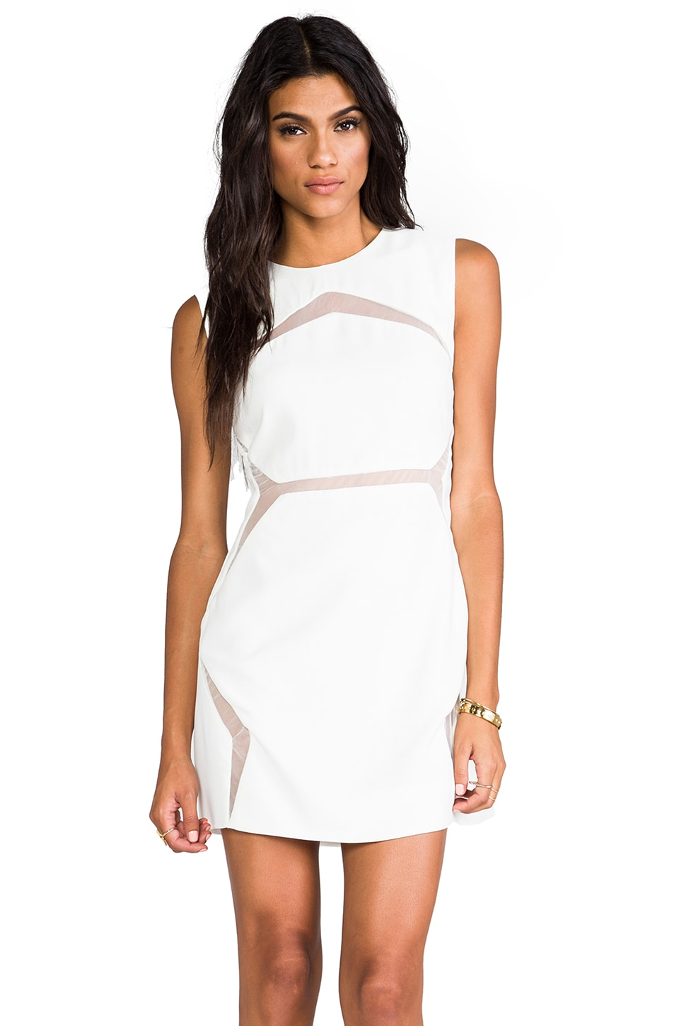 Shakuhachi Floating Panel Fitted Dress in White