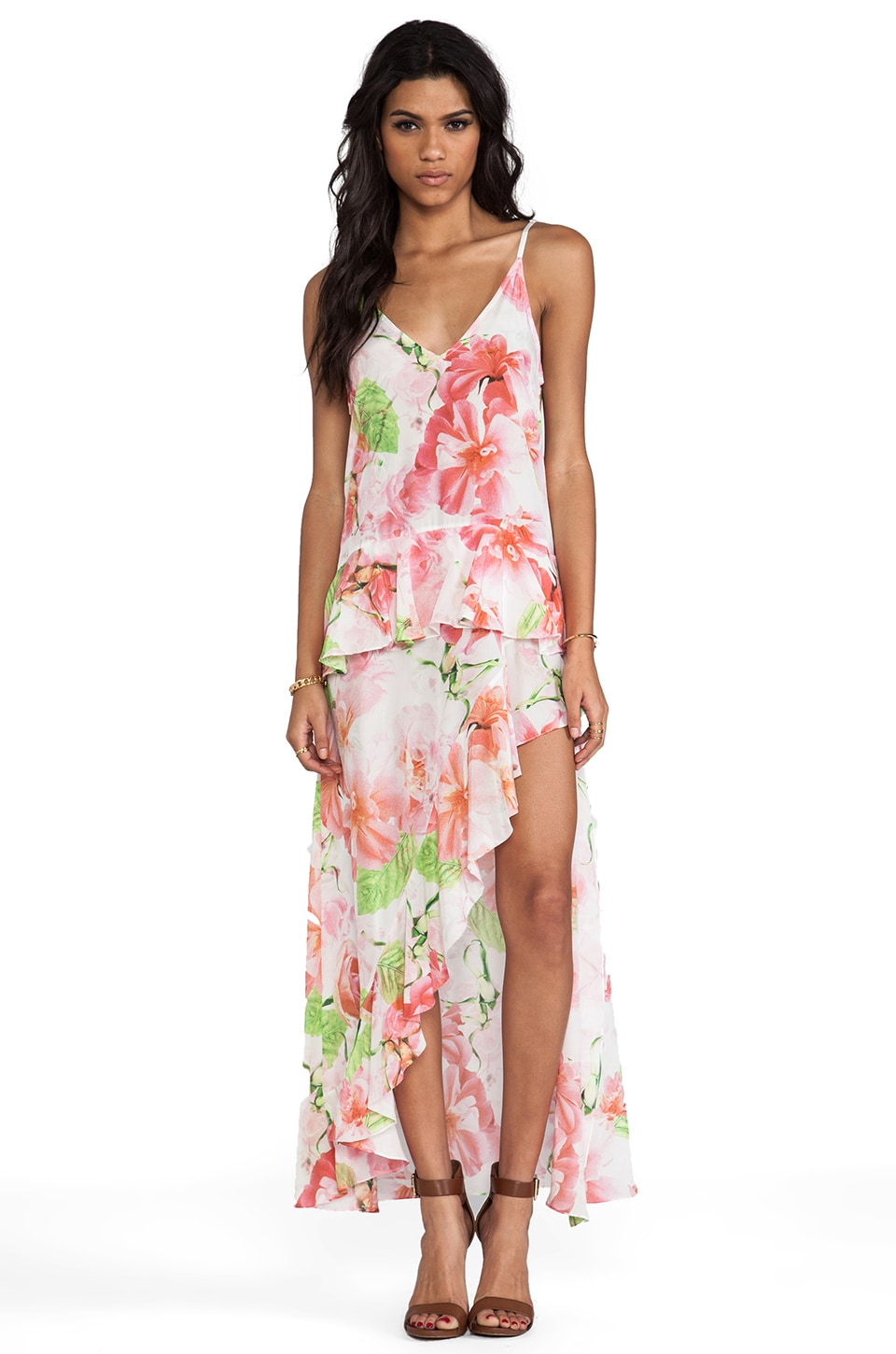 Shakuhachi A Midsummer Nights Midi Cami Dress in Pink Floral