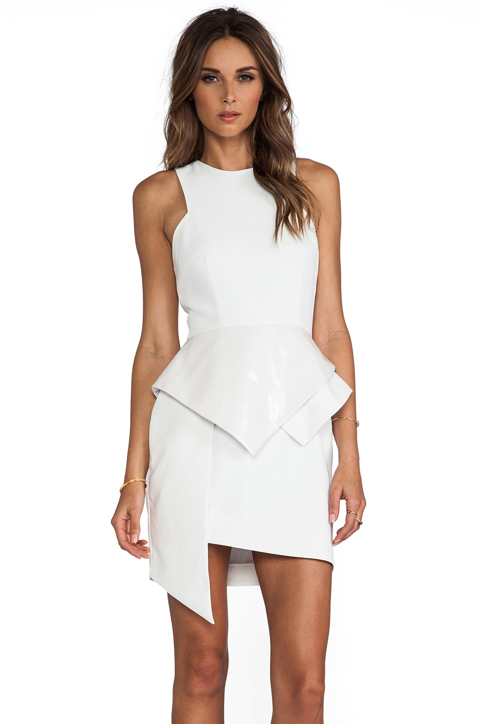 Shakuhachi Structure Peplum Panel Detail Dress in White